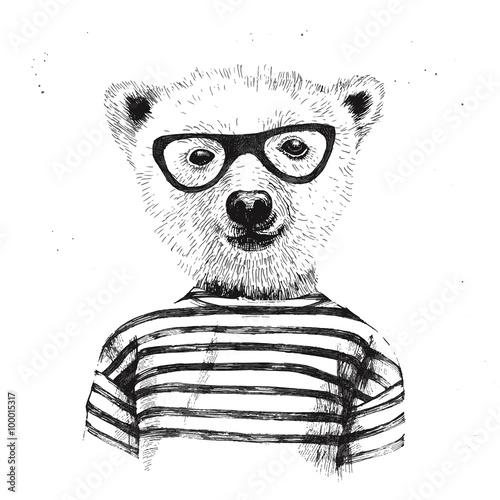 Naklejka Hand drawn Illustration of dressed up hipster bear