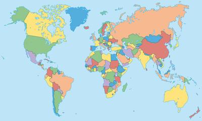 Weltkarte - einzelne Länder in Farbe