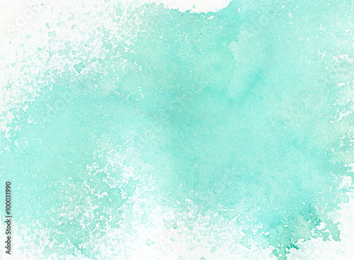 Light abstract blue painted watercolor splashes background - 100031990