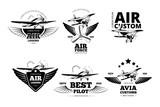 Fototapety Airplane emblems vector labels. Aviation logo, flight and best pilot illustration