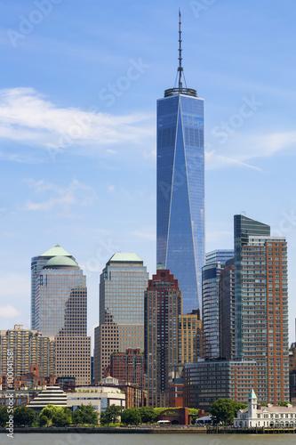 lower Manhattan skyscrapers.