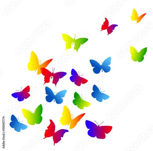 Naklejka farfalle, silhouette, sagome, volare, leggerezza, volo