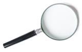 lupou nebo zvětšovací sklo na bílém pozadí