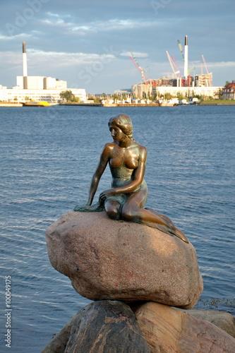 La petite statue de sirène à Copenhague, Danemark Poster