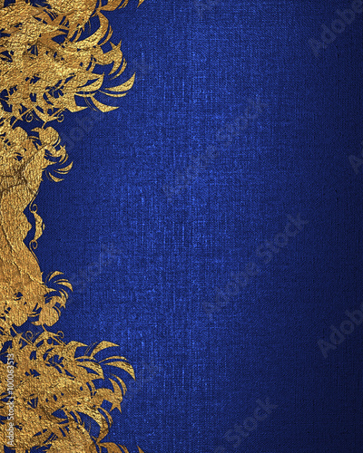 Blue Background With Gold Flowers Element For Design Template Copy Space