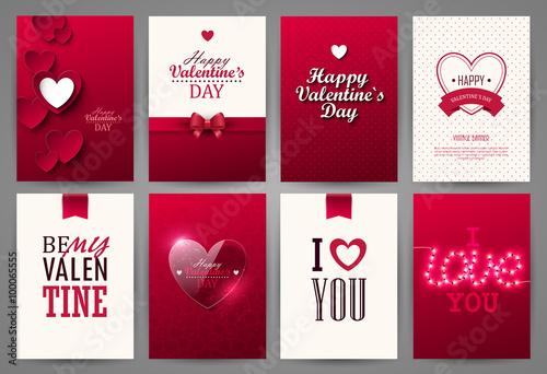 Valentine cards set. Vector illustration.