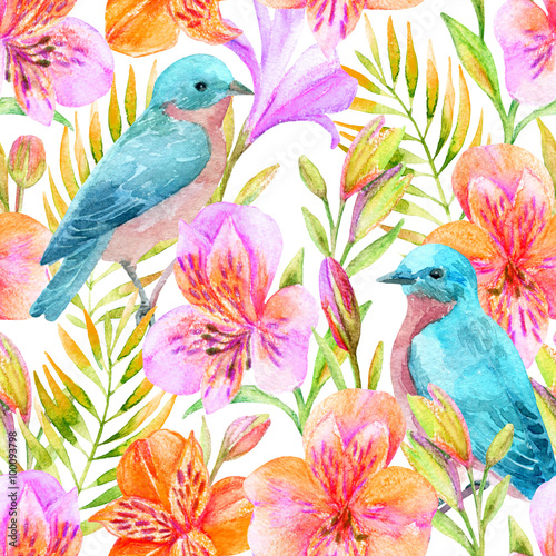 Materiał do szycia Watercolor Alstroemeria flowers seamless pattern.