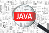 Fototapety Software development concept. Java programming language inside magnifying glass in binary code.