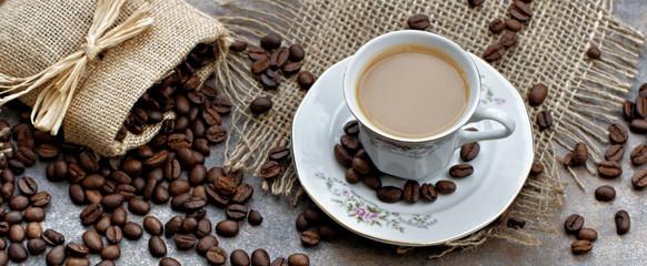Kaffee mit Kaffeebohnen © Carmen 56