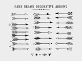 Vector vintage decorative arrows set. Hand drawn vector design elements - 100097533