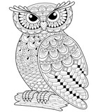 Decorative owl. Adult anti-stress coloring page. Black and white hand drawn illustration for coloring book