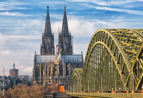 Cologne Cathedral and Hohenzollern Bridge, Cologne, Germany Poster