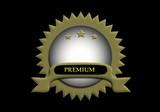Premium, dorado, fondo negro, sello, calidad, negocios, distinción