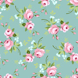 Seamless floral pattern with little pink roses - 100109541