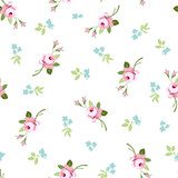 Seamless floral pattern with little flowers pink roses - 100109559