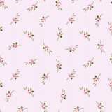 Seamless floral pattern with little flowers pink roses - 100109578