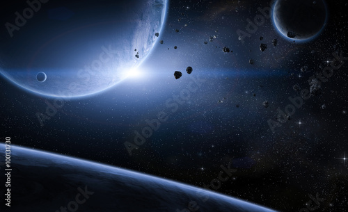 Space scene with planets and meteors