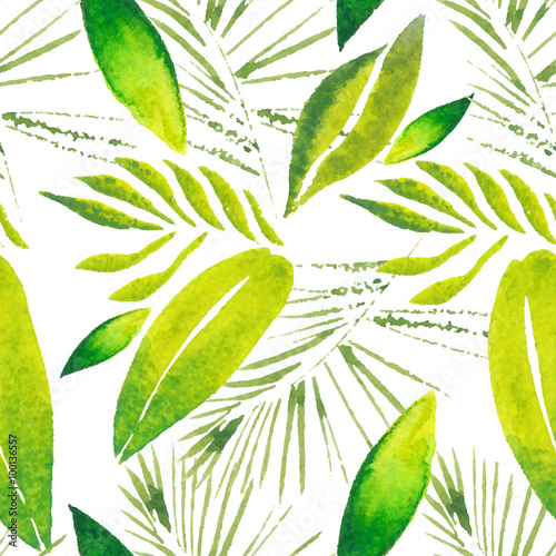 Materiał do szycia Exotic tropical leaves. Seamless, hand painted, watercolor pattern. Vector background.