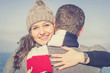 girl hugging her boyfriend - love, people and lifestyle concept