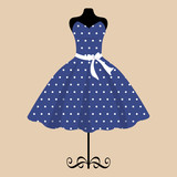 mannequin and retro blue dress