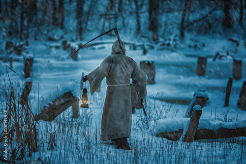 Figure man from back with  scythe of death. Poster