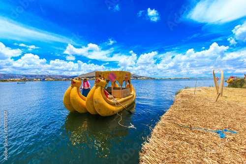 fototapeta na ścianę Totora boat on the Titicaca lake near Puno, Peru