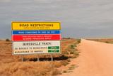 Birdsville Track/Simpson Desert Warning Sign for travellers, South Australia