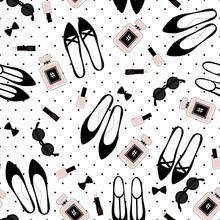 Jednolite wzór akcesoria mody. Cute mody ilustracji z czarnych butów, różowy szminka, lakier do paznokci, perfumy, okulary na kropki tle.