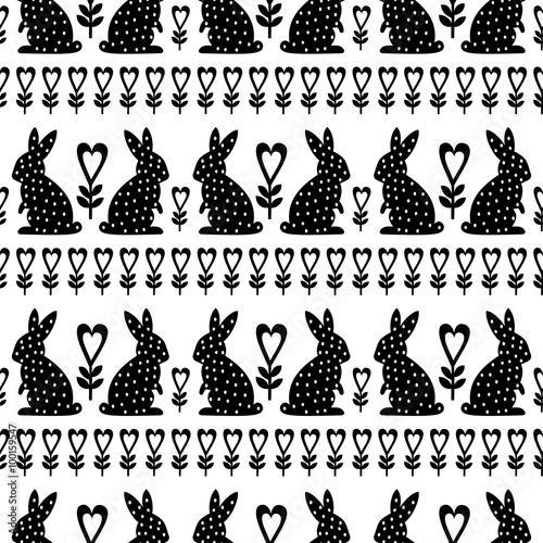 Materiał do szycia Easter Pattern with Easter Bunny and flowers on white background. Black and white seamless Spring Holiday Background. Cute Easter Illustration.
