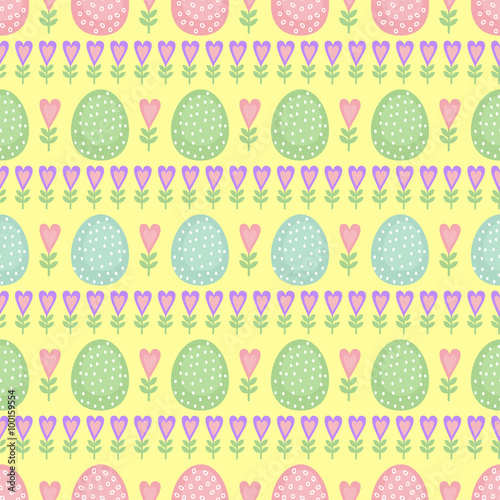 Materiał do szycia Seamless Easter pattern, card. Vector background with Easter eggs, spring flowers and hearts. Cute Easter Illustration on yellow background.