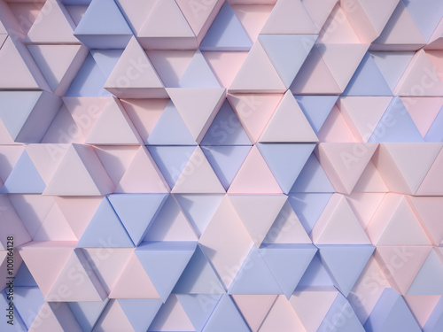 Fototapeta Serenity Blue and Rose Quartz abstract 3d triangle background