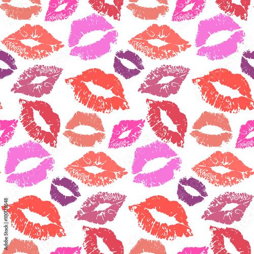 Cotton fabric Lipstick kiss seamless background
