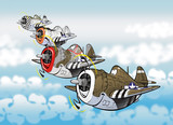 Cartoon style caricatures of famous fighter bomber plane p-47 thunderbolt