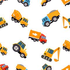 Work Trucks Seamless Pattern. Vector Illustration