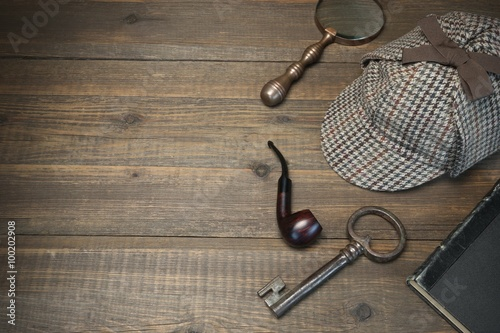 Poster Sherlock Holmes Concept. Private Detective Tools On The Wood Tab