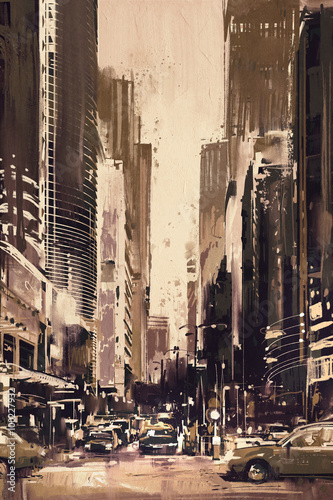 painting of city street with office buildings,artwork in retro style © grandfailure