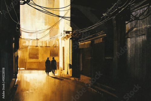 couple walking in alley at night,illustration painting © grandfailure
