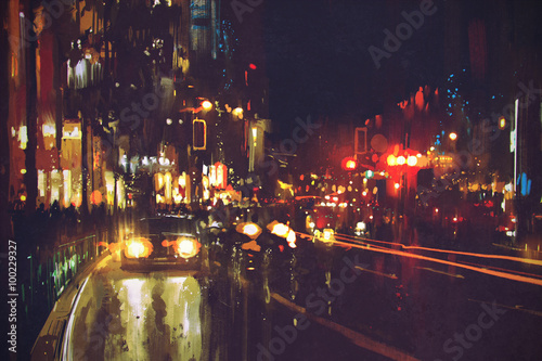 painting of night street with colorful lights © grandfailure