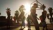 Quadro Lens flare shot of basketball game near Venice Beach, California filmed at varying speeds