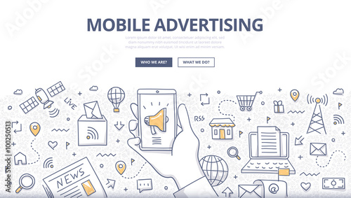Mobile Advertising Doodle Concept