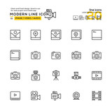 Outline Icons Set of Image , Audio , Video Icon. High Quality Outline Icons Design , Modern infographic outline vector design for website and mobile app.