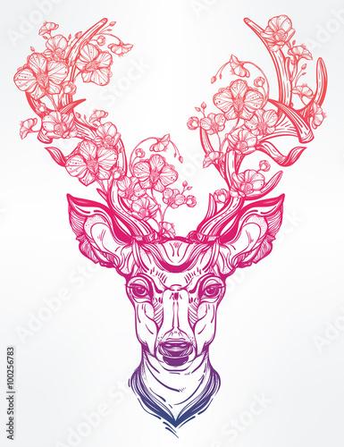 glowa-jelenia-z-kwiatami-w-stylu-linii-sztuki