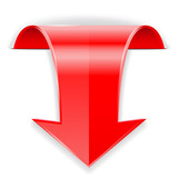 Fototapety Red arrow.  Down sign.