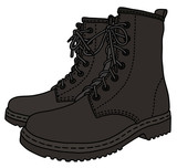 Black military boots / Hand drawing, vector illustration