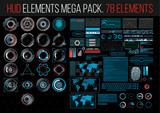 HUD Elements Mega Pack. 78 Elements. Sci Fi Futuristic User Interface