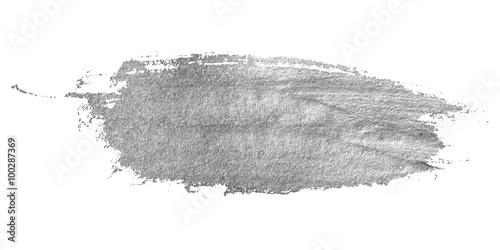 Srebna plama odizolowywająca na białym tle.
