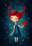 Fototapety Cancer astrological sign girl
