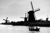 Silhouette of a windmill in Kinderdijk