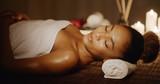 Woman having relaxing in spa massage salon