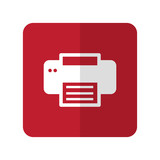 White Printer flat icon on red rounded square on white